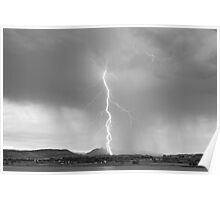 Lightning Twine Striking the CO Rocky Mountain Foothills BW Poster