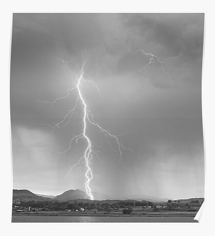 Lightning Strike Colorado Rocky Mountain Foothills BW Poster