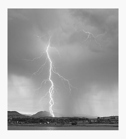 Lightning Strike Colorado Rocky Mountain Foothills BW Photographic Print