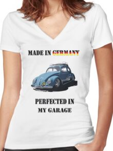 Made in Germany perfected in My Garage bug Women's Fitted V-Neck T-Shirt