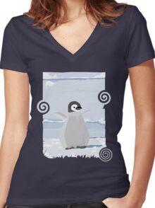 Penguin Kid Women's Fitted V-Neck T-Shirt