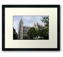 Salt Lake temple through the trees Framed Print