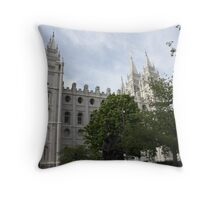 Salt Lake temple through the trees Throw Pillow
