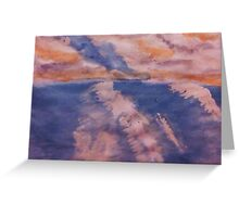 San Diego surfing waves, watercolor Greeting Card