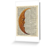 Vintage Half Moon Face Dictionary Art Greeting Card