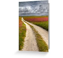 Clover fields at Balranald Nature Reserve, Scotland Greeting Card
