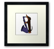 Cool Funny Dachshund Dog Playing Blue Saxophone Framed Print