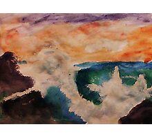 Crashing waves, watercolor Photographic Print