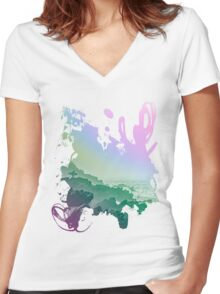 Fistral cliffs REDUX Women's Fitted V-Neck T-Shirt