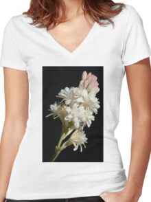 Polianthes flower Women's Fitted V-Neck T-Shirt