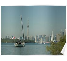 Sailboats and Wards Island Against Toronto Skyline Poster