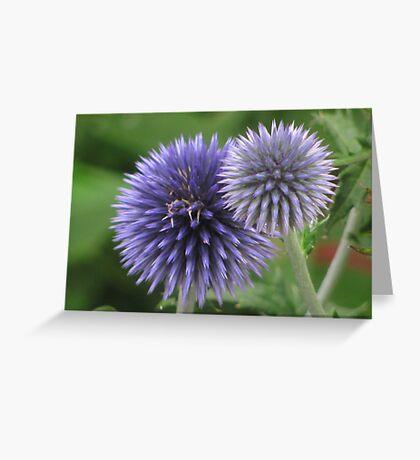 """Blue Orb Flowers"" Greeting Card"