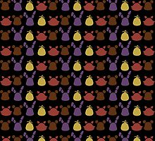 Bear, bunny, chick and fox pattern -black- by CoyoDesign