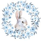 Rabbit and floral wreath by Gribanessa