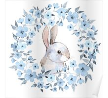 Rabbit and floral wreath Poster
