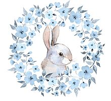 Rabbit and floral wreath Photographic Print