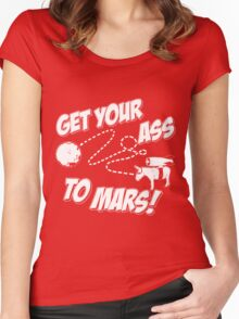 Get Your Ass To Mars white Women's Fitted Scoop T-Shirt