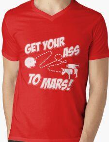 Get Your Ass To Mars white Mens V-Neck T-Shirt