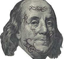 Benjamin Franklin with tattoos by IMadeUReadThi