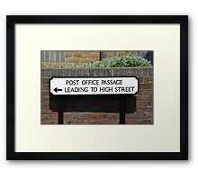 Post Office Passage sign, Hastings Framed Print