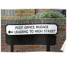 Post Office Passage sign, Hastings Poster