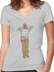 hug it out zombie Women's Fitted V-Neck T-Shirt