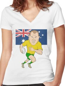 Rugby player running with ball Australia flag Women's Fitted V-Neck T-Shirt