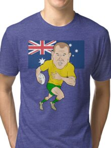 Rugby player running with ball Australia flag Tri-blend T-Shirt