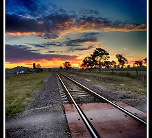 Rail til the sun goes down.  by Jason Allan