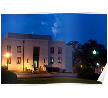 Evening Twilight Rural Town Courthouse Poster