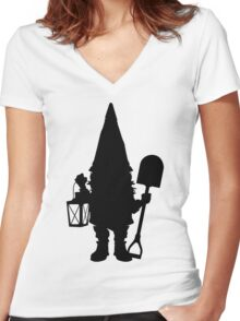 Gnome in Silhouette  Women's Fitted V-Neck T-Shirt