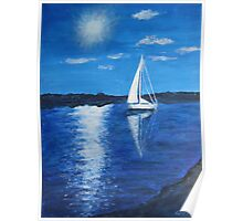 Sailing boat in sunlight Poster