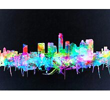 Austin skyline watercolor 2 Photographic Print