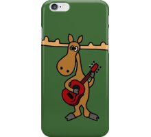Funny Moose Playing Red Guitar iPhone Case/Skin