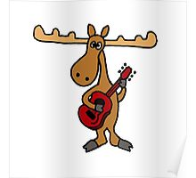 Funny Moose Playing Red Guitar Poster