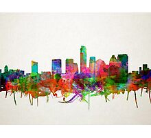 Austin skyline watercolor 4 Photographic Print