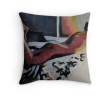 Colourful lounger - woman on the bed Throw Pillow