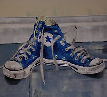 blue base ball converse boots by JasPeaches