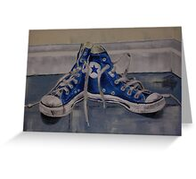 blue base ball converse boots Greeting Card