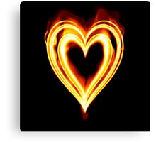 Flaming heart on Fire Canvas Print