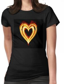 Flaming heart on Fire Womens Fitted T-Shirt