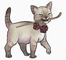 Japanese Tea Ceremony Kitten - Matcha spoon thief Kids Tee
