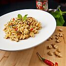 Fusilli in Fragrant peanuts sauce with Pomegrante Molasses by RecipeTaster