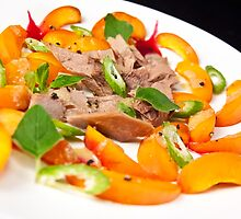 Apricot & Sicilian Tuna salad with a Benzaldehyde vinaigrette by RecipeTaster