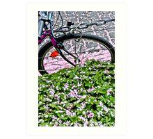 Biking through petals in Bonn Art Print