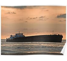 Ship in the Sea at Sunset Poster
