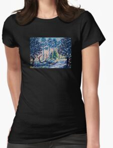 Impressionism, Fauvism Landscape Painting of the forest on canvas Womens Fitted T-Shirt