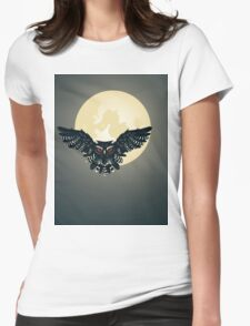 Owl and Full Moon Womens Fitted T-Shirt
