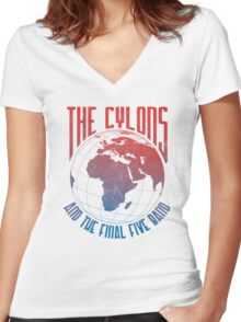 The Cylons and The Final Five Band Women's Fitted V-Neck T-Shirt
