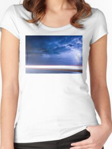Lightning Spiral In The Night Women's Fitted Scoop T-Shirt